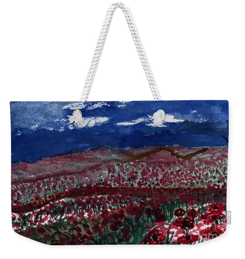 Poppy Weekender Tote Bag featuring the painting Field Of Hell by Victor Vosen
