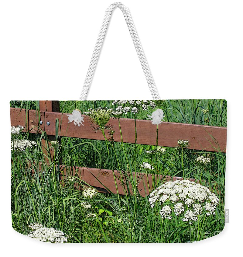 Flower Weekender Tote Bag featuring the photograph Field Of Lace by Ann Horn