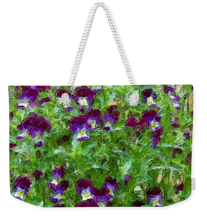 Digital Photograph Weekender Tote Bag featuring the photograph Field Of Pansy's by David Lane