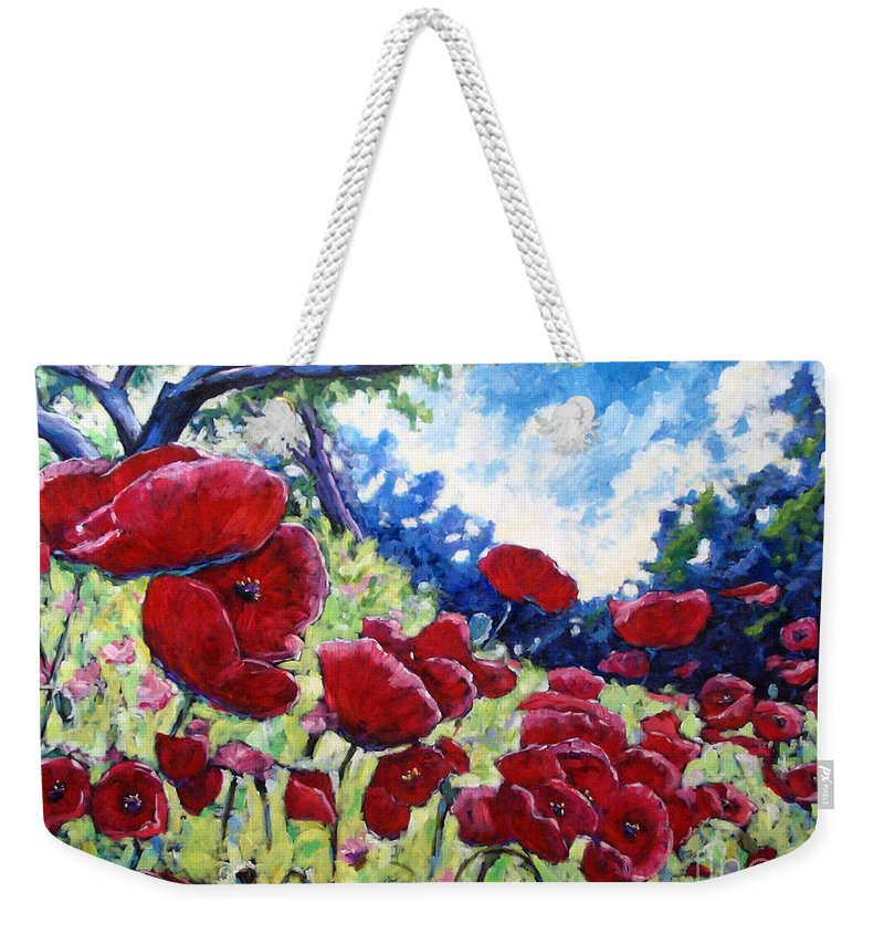 Poppies Weekender Tote Bag featuring the painting Field Of Poppies 02 by Richard T Pranke