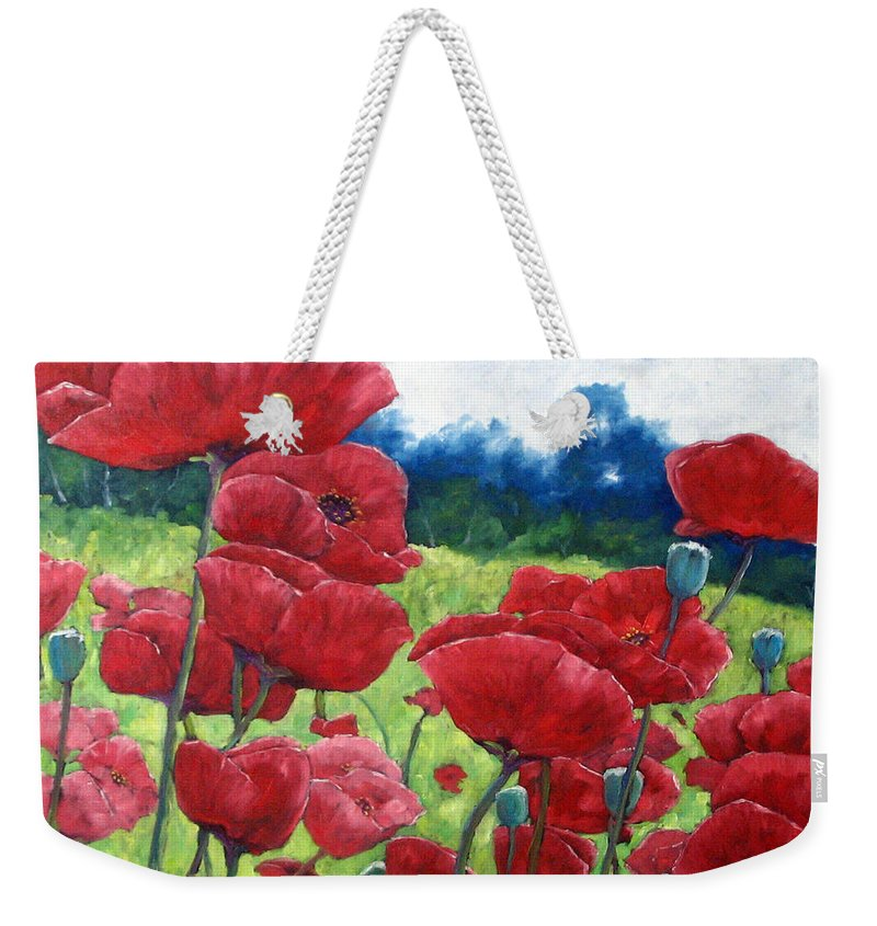 Poppies Weekender Tote Bag featuring the painting Field Of Poppies by Richard T Pranke