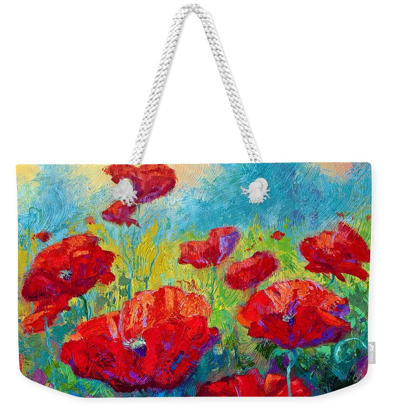 Poppies Weekender Tote Bag featuring the painting Field Of Red Poppies by Marion Rose