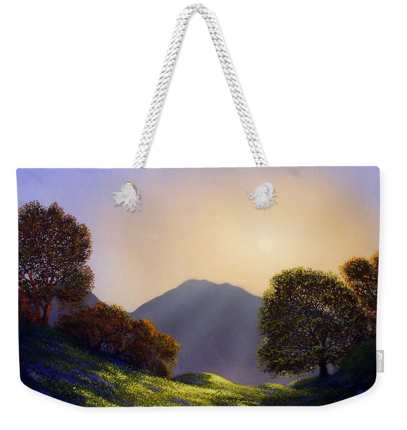 Landscape Weekender Tote Bag featuring the painting Field Of Wildflowers by Frank Wilson