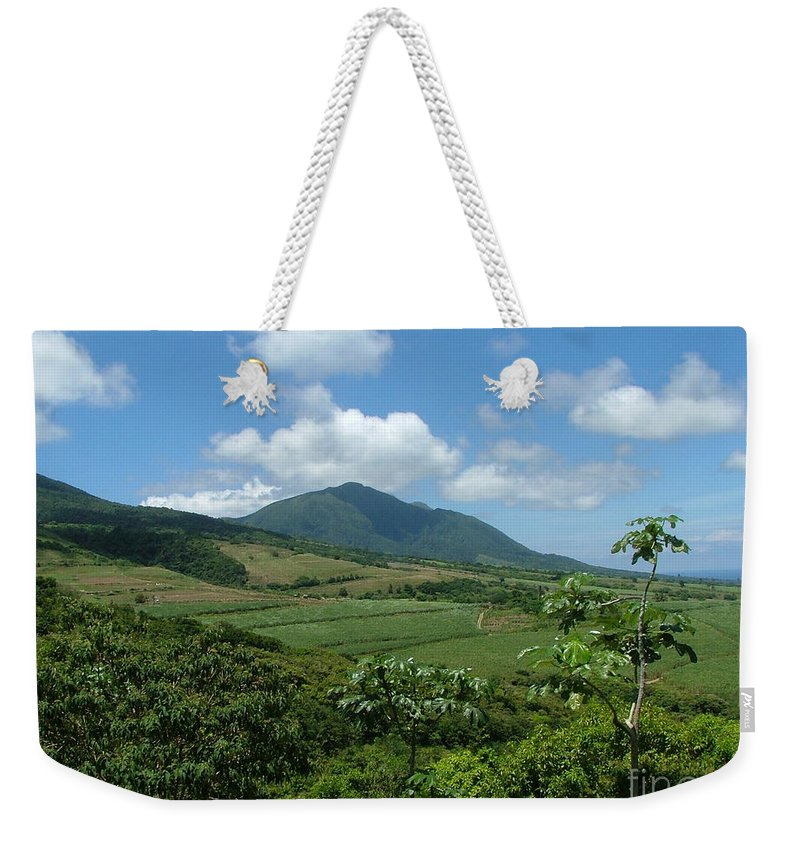 Surgar Cane Weekender Tote Bag featuring the photograph St. Kitts Fields Of Cane by Neil Zimmerman