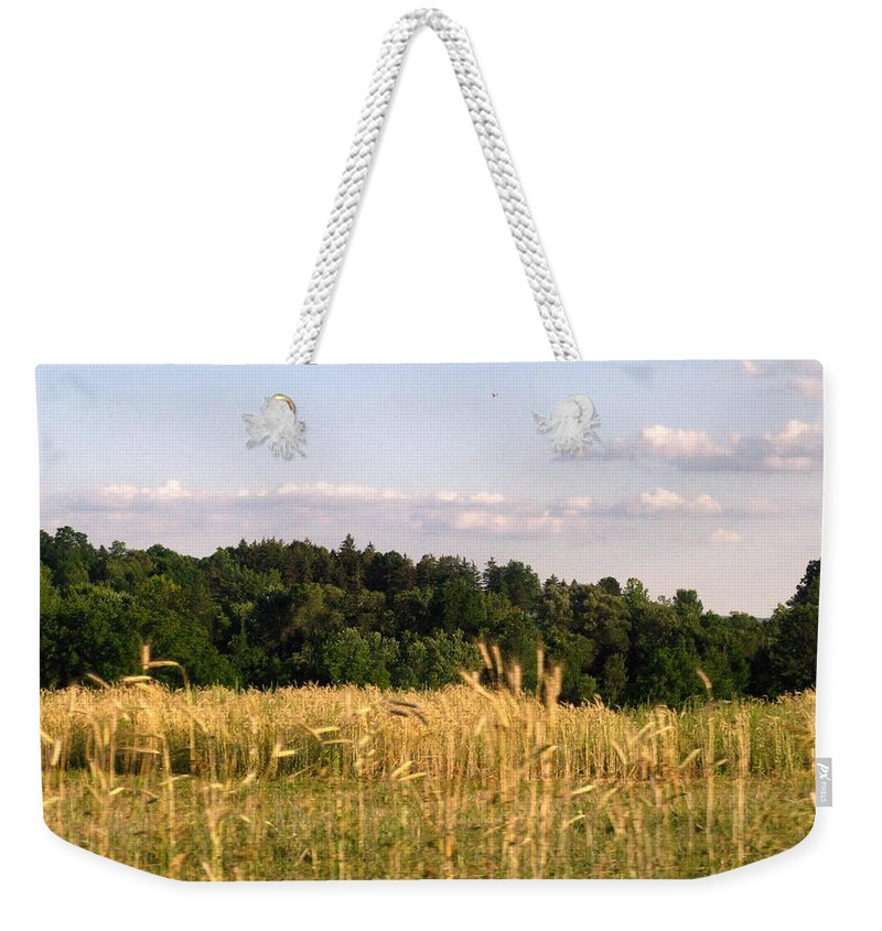 Field Weekender Tote Bag featuring the photograph Fields Of Grain by Rhonda Barrett