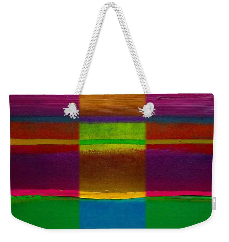 Landscape Weekender Tote Bag featuring the painting Fields Of Green by Charles Stuart