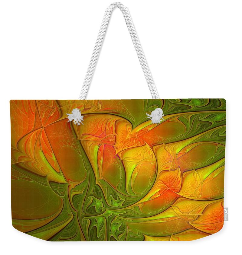 Digital Art Weekender Tote Bag featuring the digital art Fiery Glow by Amanda Moore