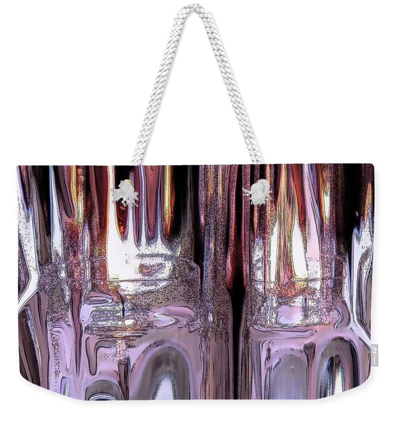Ice Weekender Tote Bag featuring the digital art Fiery Ice by Ian MacDonald