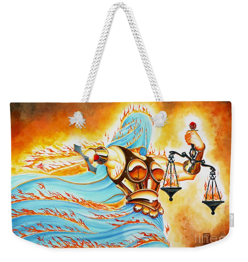 Fantasy Weekender Tote Bag featuring the drawing Fiery Justice by Melissa A Benson