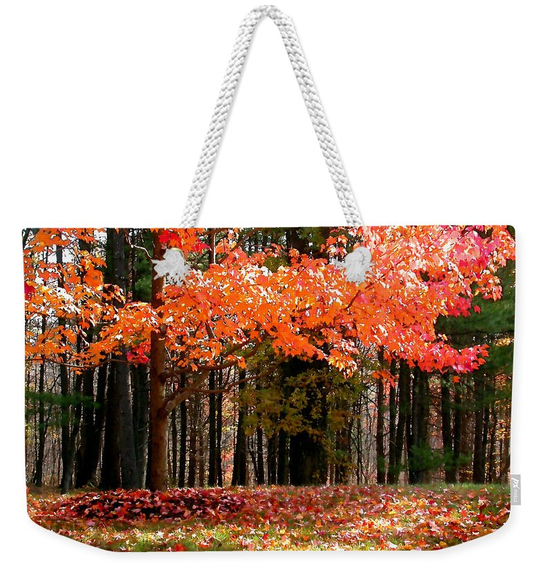 Leaves Weekender Tote Bag featuring the painting Fiery Leaves by Paul Sachtleben