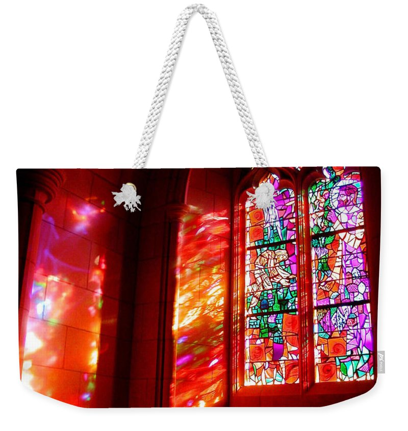 Stained Glass Weekender Tote Bag featuring the photograph Fiery Light 2 by Tom Reynen