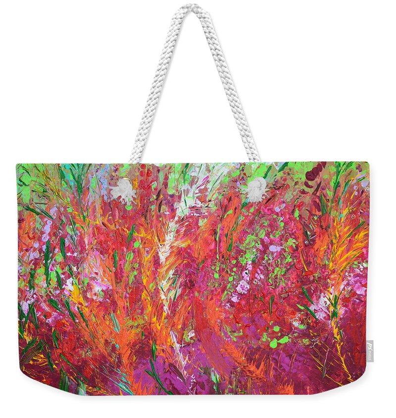 Fire Meadow Weekender Tote Bag featuring the painting Fiery Meadow by Adriana Dziuba