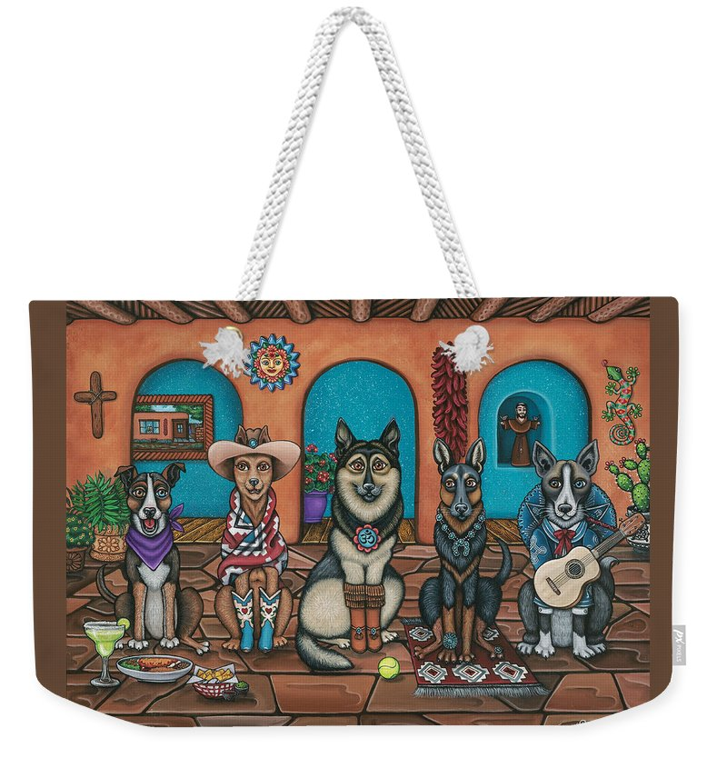 Dogs Weekender Tote Bag featuring the painting Fiesta Dogs by Douglas Jones