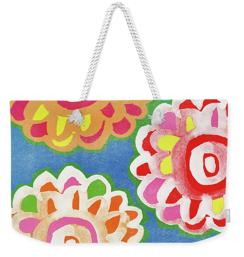 Floral Design Mixed Media Weekender Tote Bags