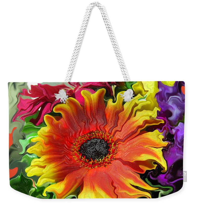 Abstract Weekender Tote Bag featuring the photograph Floral Fiesta by Kathy Moll