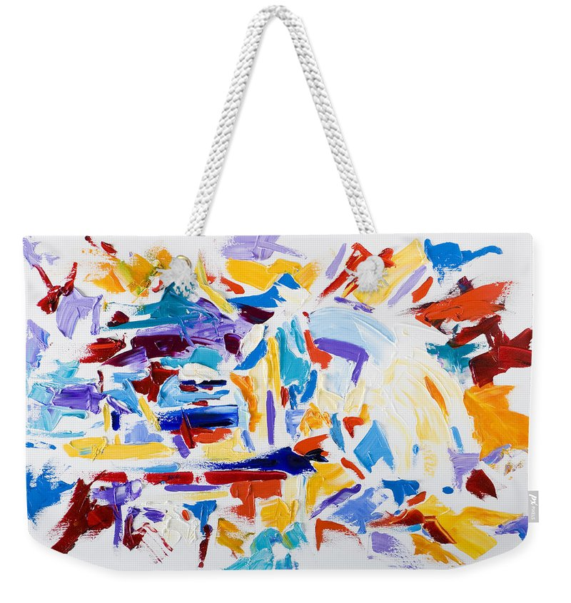 Abstract Yellow Weekender Tote Bag featuring the painting Fiesta by Shannon Grissom