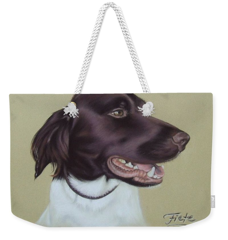 Dog Weekender Tote Bag featuring the pastel Fiete by Nicole Zeug