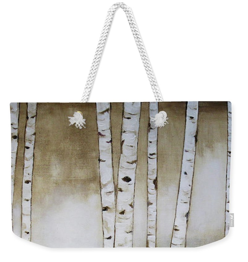 Rustic Weekender Tote Bag featuring the painting Fifteen Birch Trees by Cheryl Rose