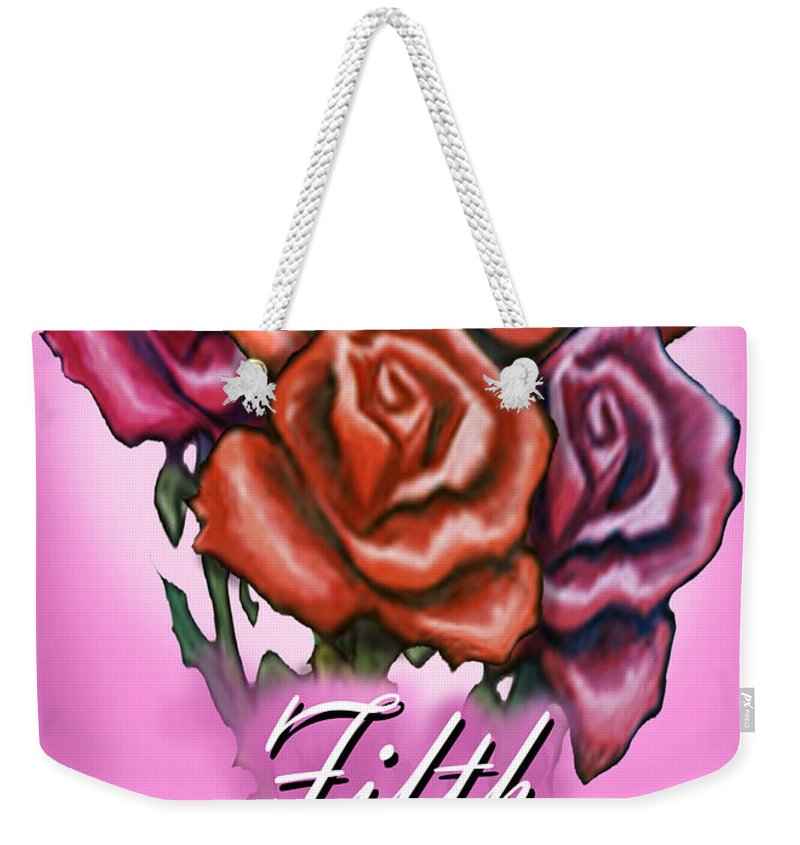 Fifth Weekender Tote Bag featuring the greeting card Fifth Anniversary by Kevin Middleton