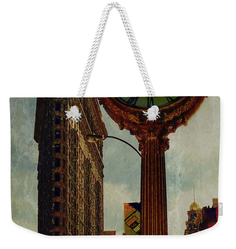 Fifth Avenue Weekender Tote Bag featuring the photograph Fifth Avenue Clock And The Flatiron Building by Chris Lord