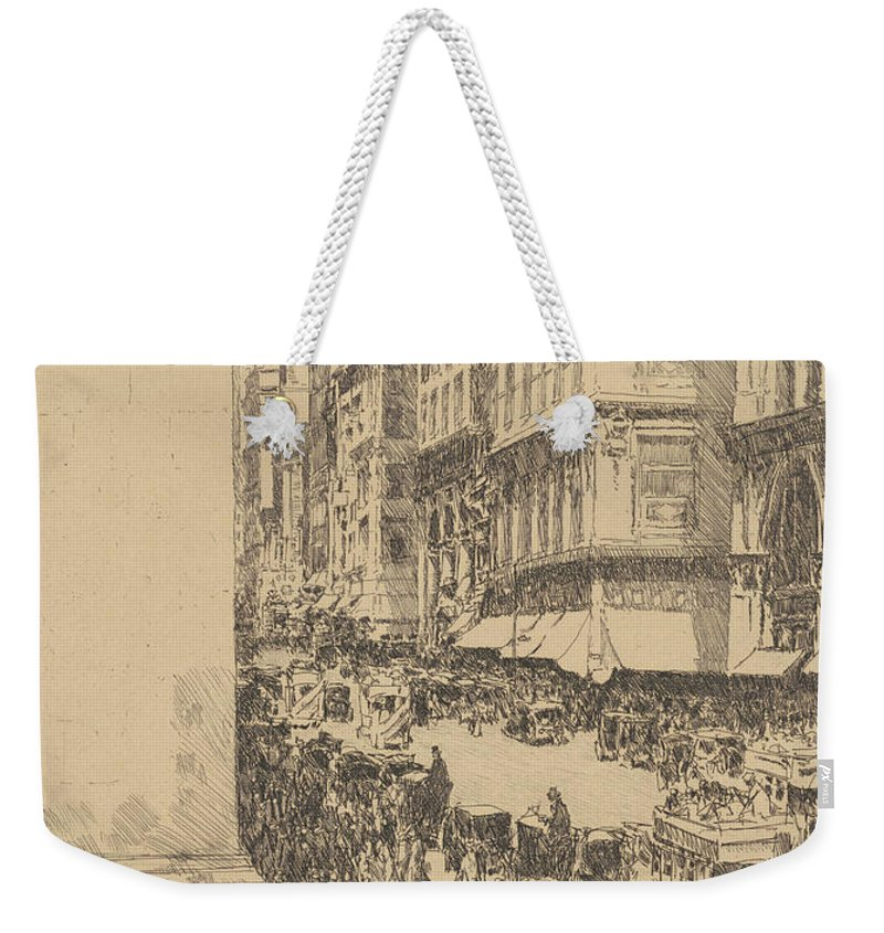 Childe Hassam Weekender Tote Bag featuring the drawing Fifth Avenue, Noon, 1916 by Childe Hassam