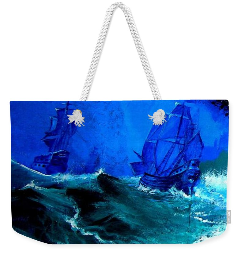 Seascape Weekender Tote Bag featuring the painting Fight For Life by Glory Fraulein Wolfe