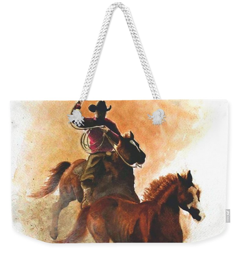 Western Weekender Tote Bag featuring the painting Fighting For Freedom by Jimmy Smith