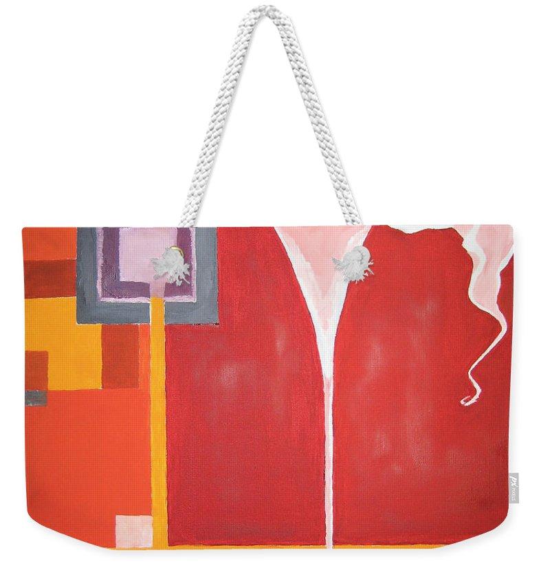 Flower Weekender Tote Bag featuring the painting Figurativ Flower by Alban Dizdari