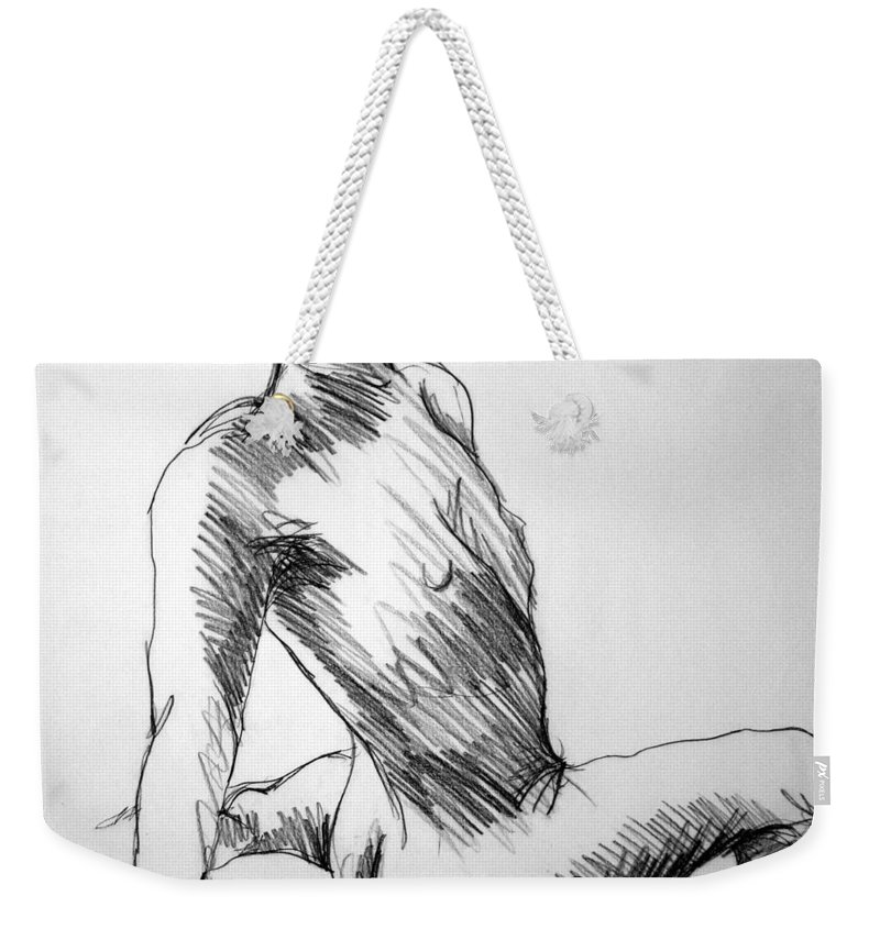 Figure Weekender Tote Bag featuring the drawing Figure Drawing 1 by Nancy Mueller