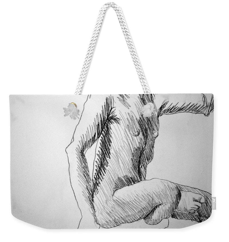 Figure Weekender Tote Bag featuring the drawing Figure Drawing 3 by Nancy Mueller