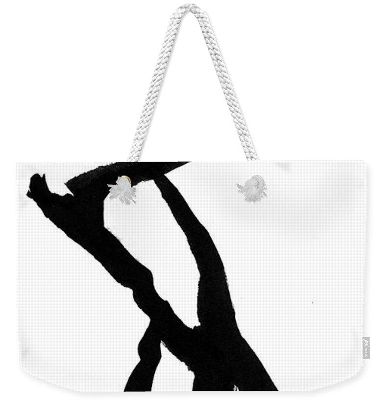 Silhouette Weekender Tote Bag featuring the drawing Figure Silhouette by Nancy Mueller