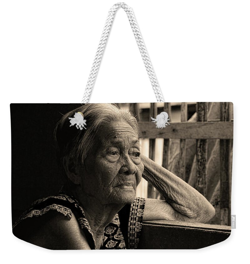 Insogna Weekender Tote Bag featuring the photograph Filipino Lola Image Number 33 In Black And White Sepia by James BO Insogna
