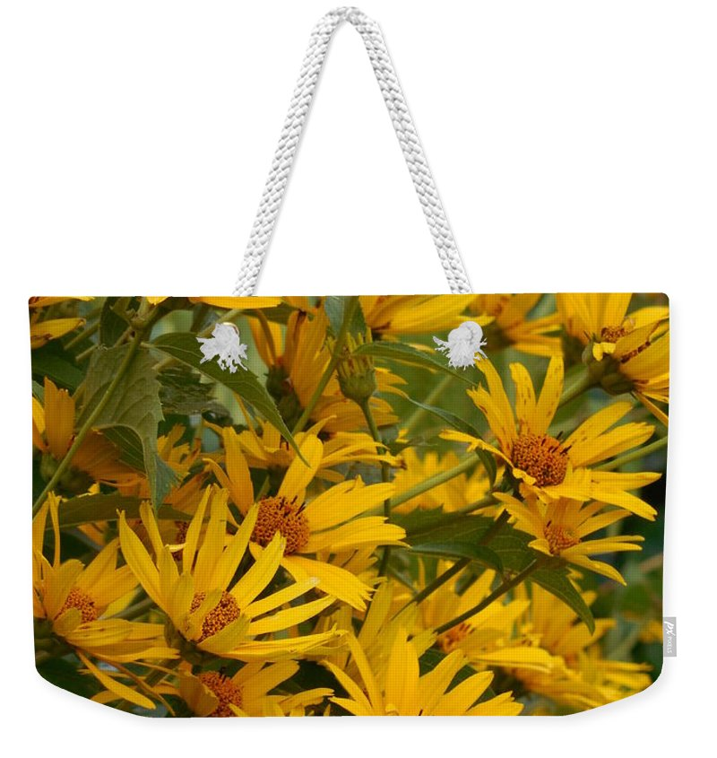 Sunflower Weekender Tote Bag featuring the photograph Filled With Sunflowers Vertical by Rowena Throckmorton