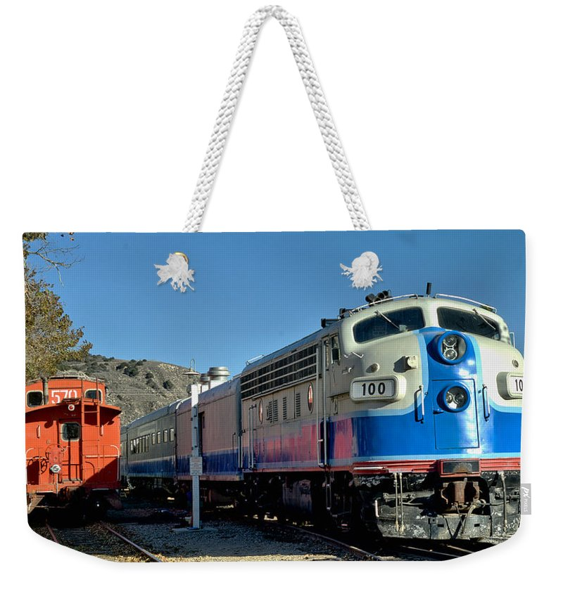 Fillmore Weekender Tote Bag featuring the photograph Fillmore And Western Railway Christmas Train 2 by Michael Gordon