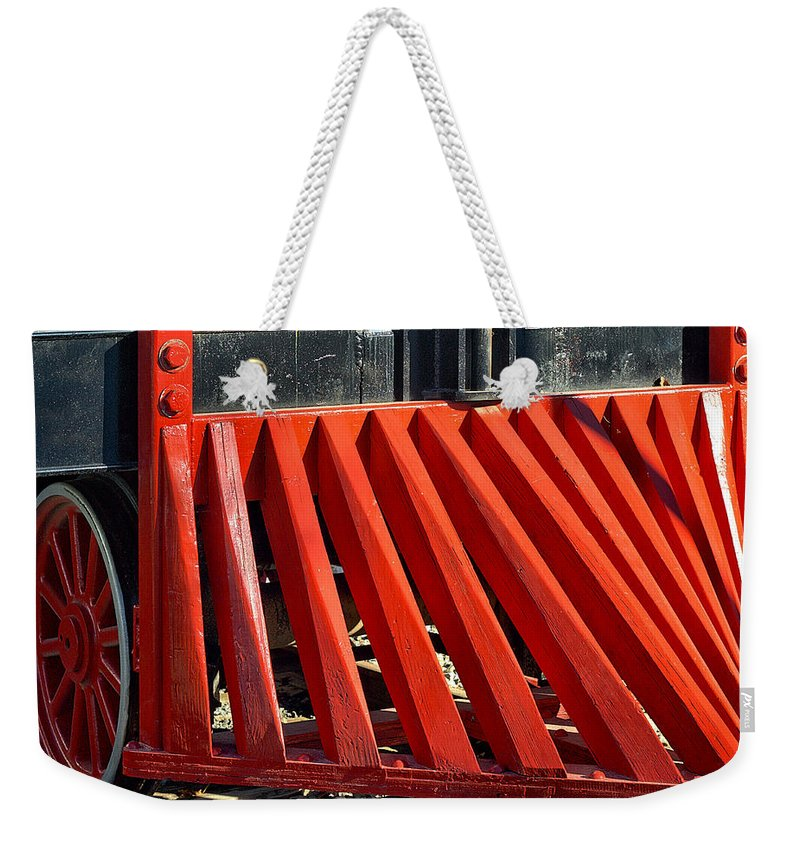 Fillmore Weekender Tote Bag featuring the photograph Fillmore And Western Railway Cow Catcher by Michael Gordon