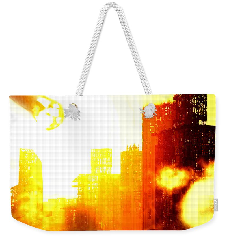 Meteor Showe Weekender Tote Bag featuring the digital art Final Strike by Richard Rizzo