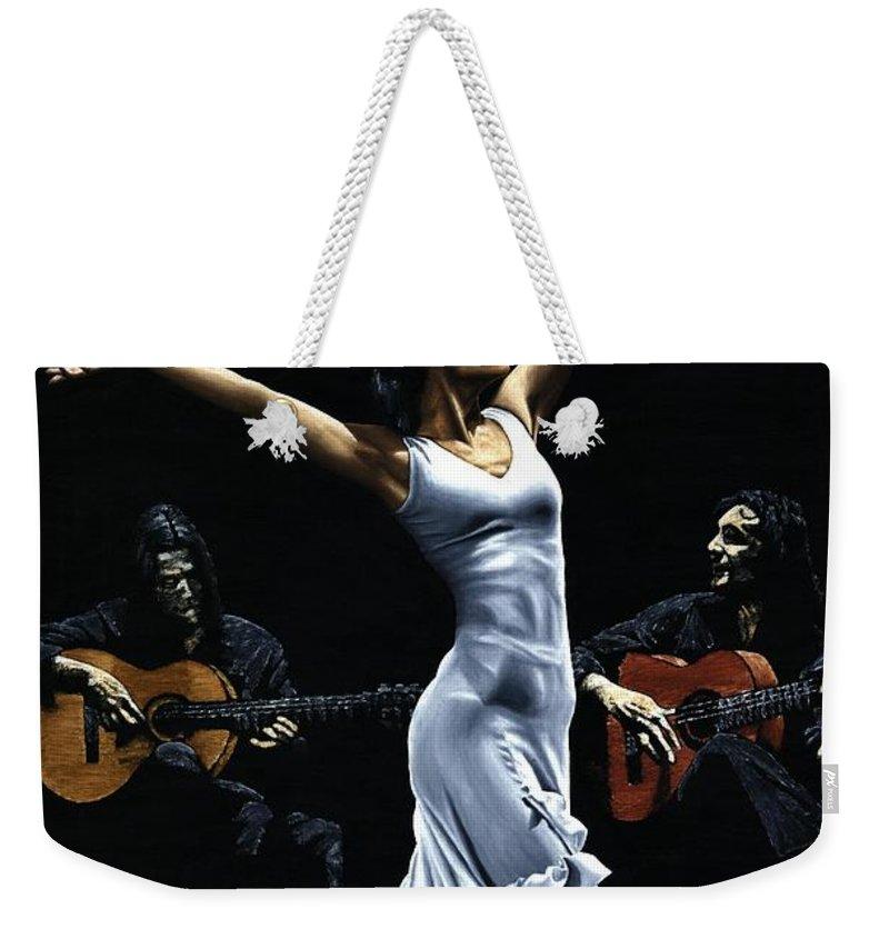 Flamenco Weekender Tote Bag featuring the painting Finale Del Funcionamiento Del Flamenco by Richard Young