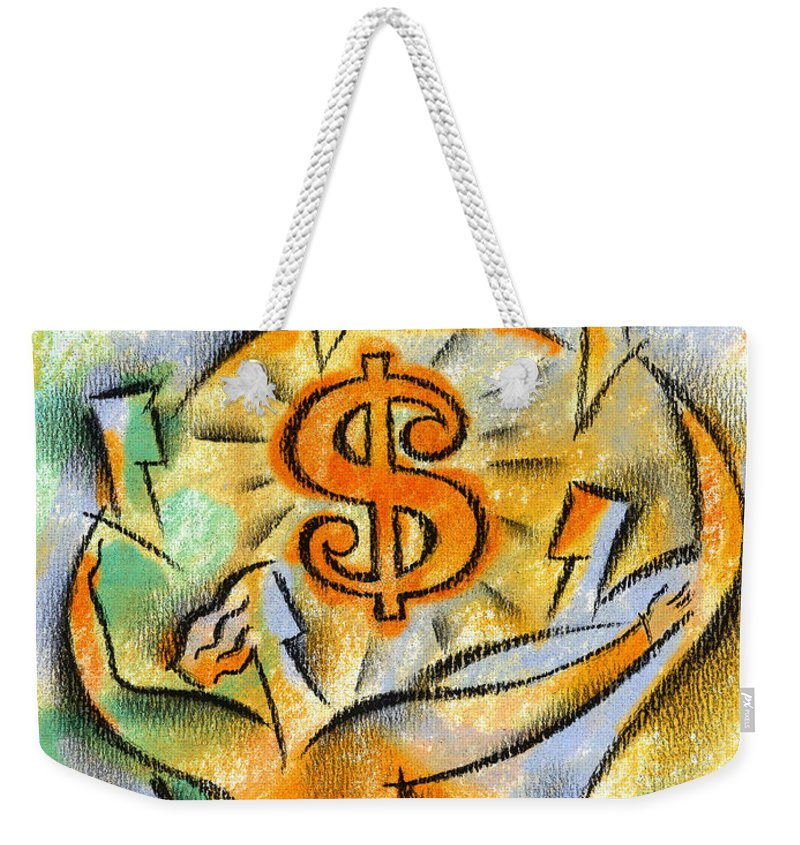 Business Deal Business Deals Dollar Sign Dollar Signs Dollars Financial Planning Financial Success Join Joined Joining Joining Together Joint Account Joint Venture Merger Mergers Money Moneymaking Opportunity Partner Partners Partnership Profit Prosper Prosperous Team Teams Teamwork Together Weekender Tote Bag featuring the painting Financial Success by Leon Zernitsky