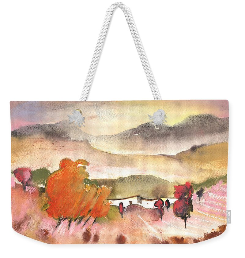 Travel Weekender Tote Bag featuring the painting Finca In Spain by Miki De Goodaboom