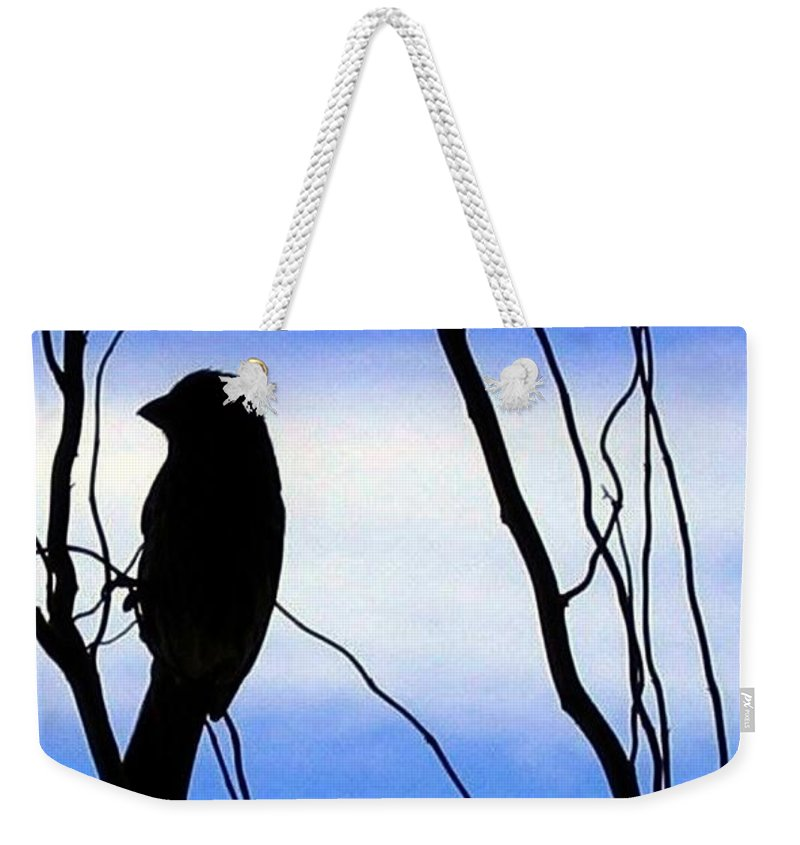 Finch Weekender Tote Bag featuring the photograph Finch Silhouette 2 by Will Borden