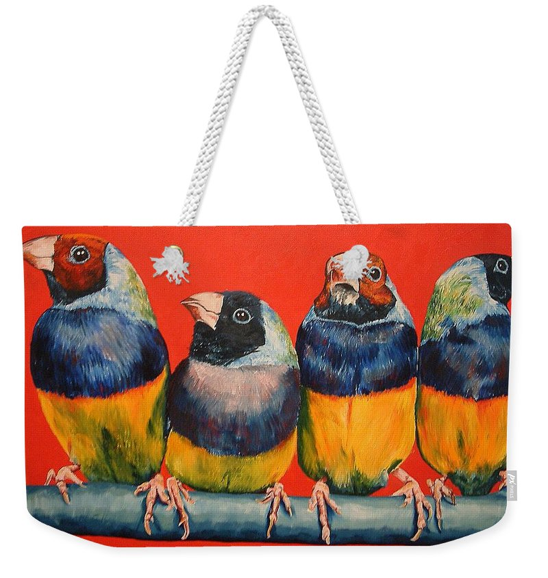 Birds Weekender Tote Bag featuring the painting Finches by Debbie Sampson