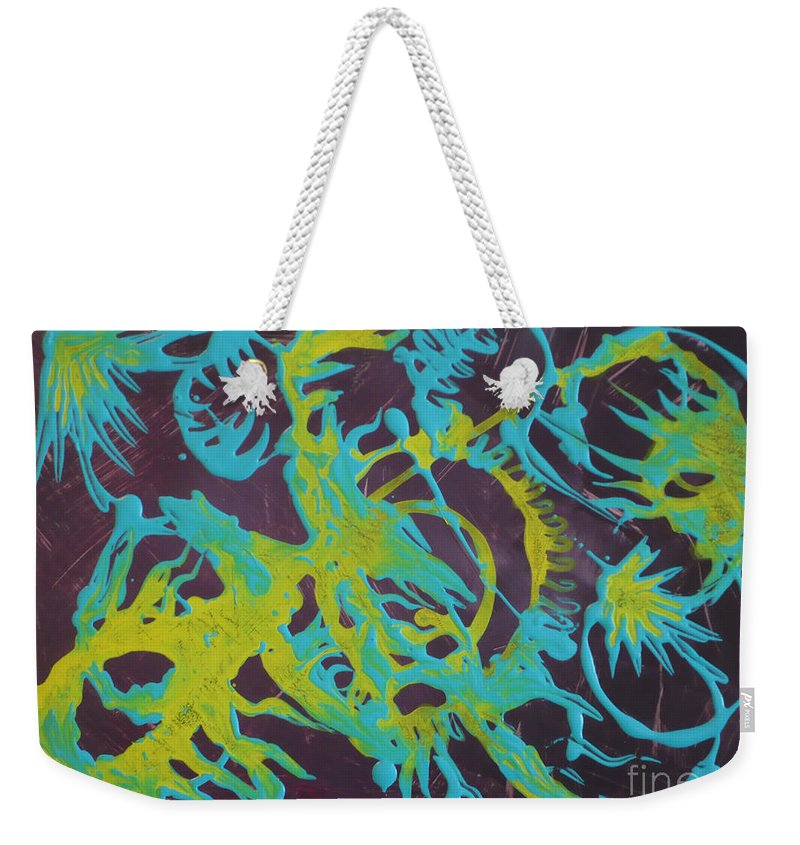 Abstract Weekender Tote Bag featuring the painting Find A Cure by Monika Shepherdson