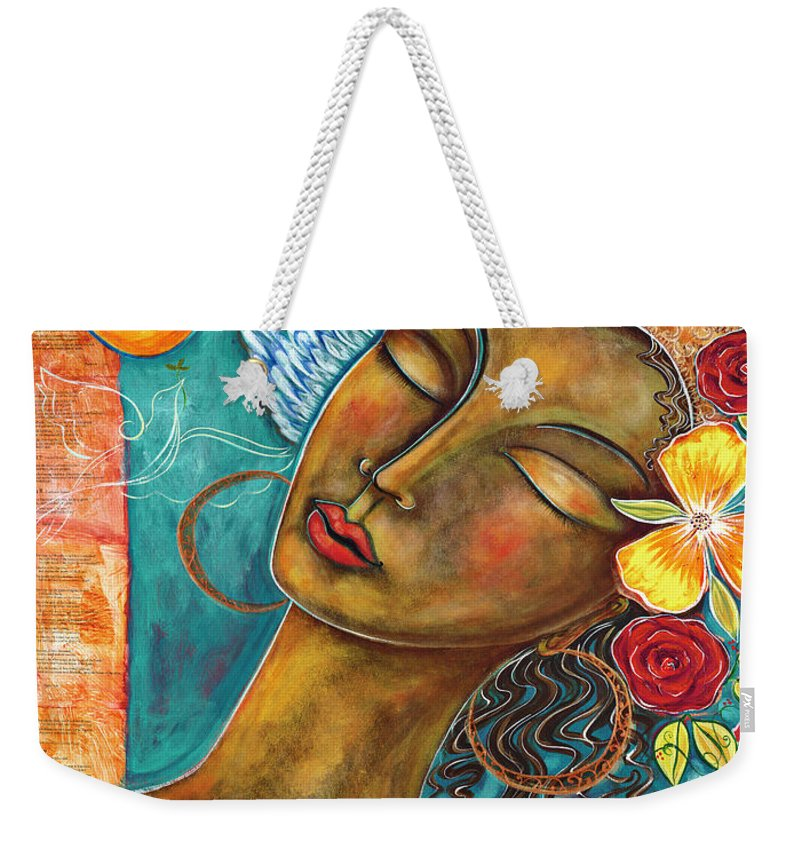 Bird Weekender Tote Bag featuring the painting Finding Paradise by Shiloh Sophia McCloud