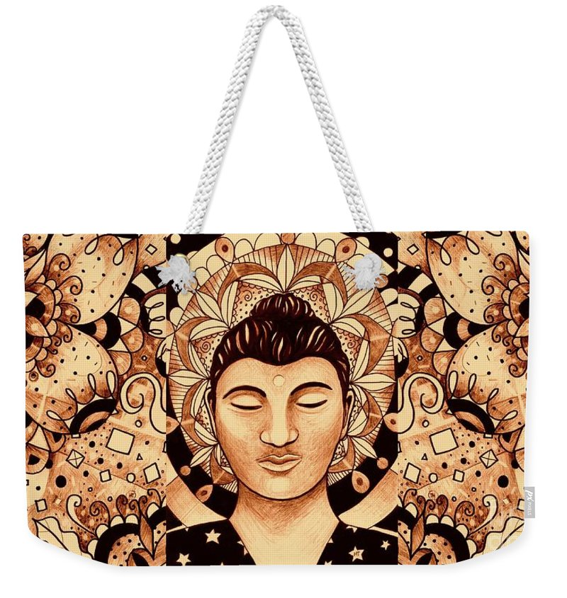 Buddha Weekender Tote Bag featuring the digital art Finding Peace 4 by Helena Tiainen