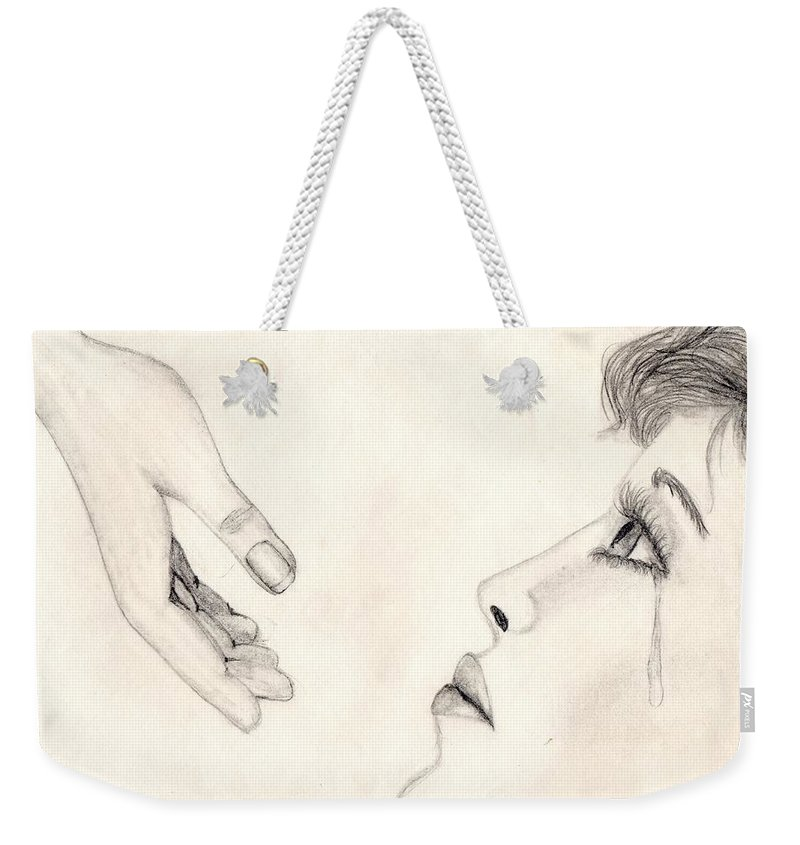 Hand Weekender Tote Bag featuring the drawing Finding Rest by Tina Partridge