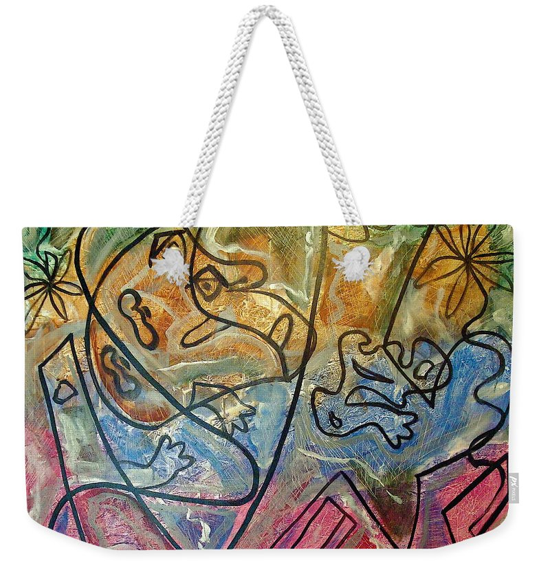 Modern Abstract Weekender Tote Bag featuring the painting Finding Sun by W Todd Durrance