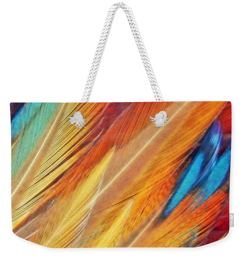 Chicken Weekender Tote Bag featuring the photograph Fine Art Feathers by Jan Gelders