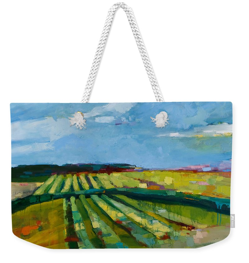 Landscape Weekender Tote Bag featuring the painting Fine Fields by Michele Norris