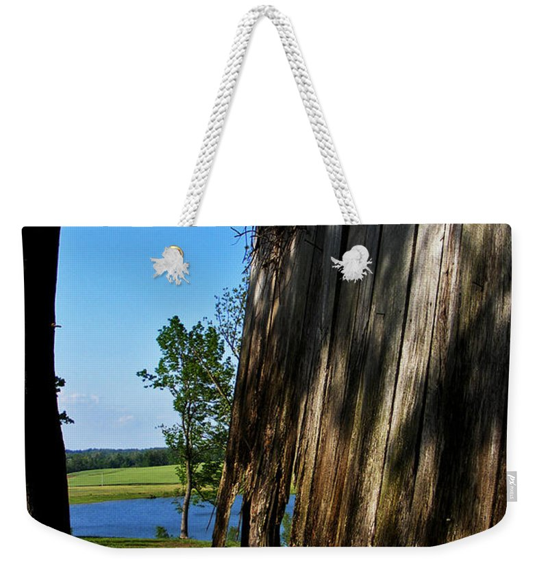 Landscape Weekender Tote Bag featuring the photograph Fine Woodwork by Rachel Christine Nowicki