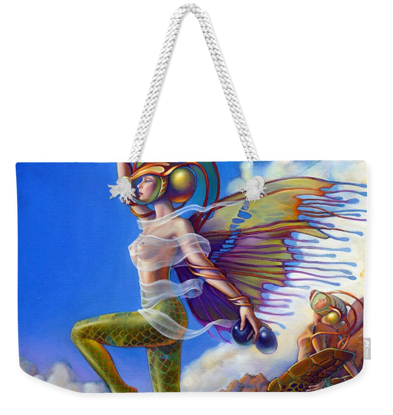 Mermaid Weekender Tote Bag featuring the painting Finfaerian Quest by Patrick Anthony Pierson